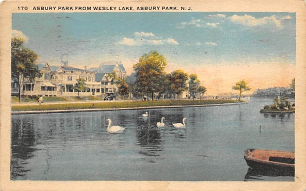 Asbury Park from Wesley Lake New Jersey Postcard