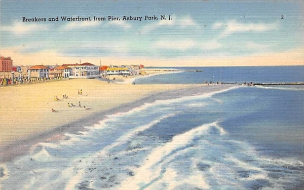 Breakers and Waterfront, from Pier Asbury Park, New Jersey Postcard