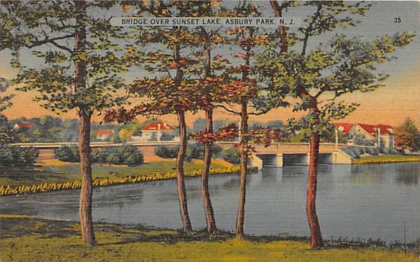 Bridge over Sunset Lake Asbury Park, New Jersey Postcard