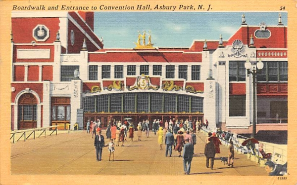 Boardwalk and Entrance to Convention Hall Asbury Park, New Jersey Postcard