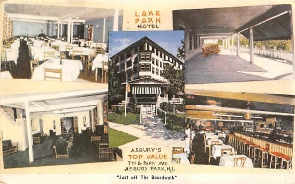 Lake Park Hotel Asbury Park, New Jersey Postcard