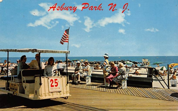 Electric car chair on the famous Boardwalk Asbury Park, New Jersey Postcard