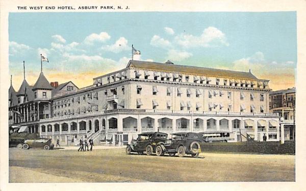 The West End Hotel Asbury Park, New Jersey Postcard