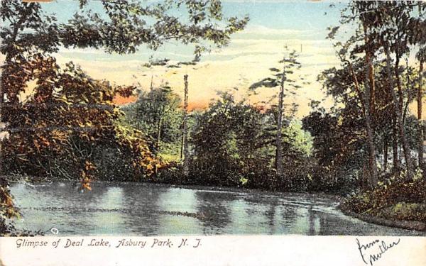 Glimpse of Deal Lake Asbury Park, New Jersey Postcard