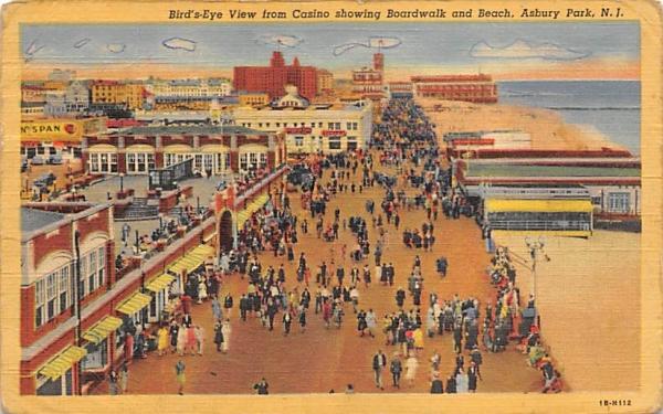 Casino showing Boardwalk and Beach Asbury Park, New Jersey Postcard