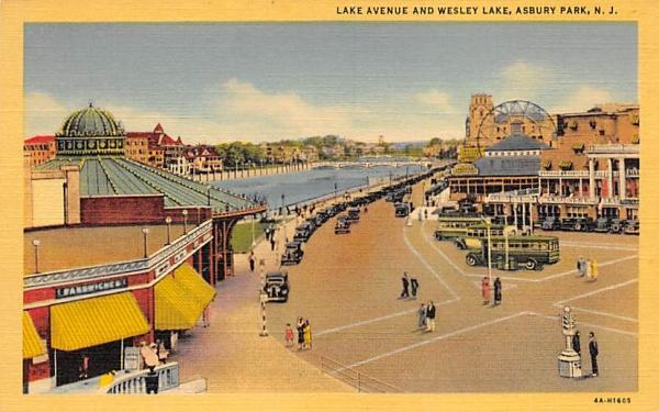 Lake Aveune and Wesley Lake Asbury Park, New Jersey Postcard
