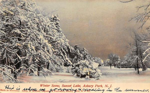 Winter Scene, Sunset Lake Asbury Park, New Jersey Postcard