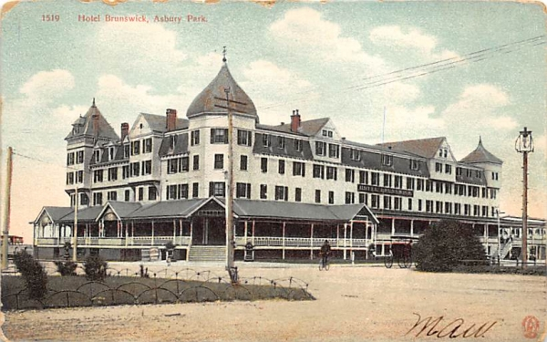 Hotel Brunswick Asbury Park, New Jersey Postcard