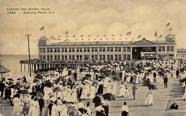 Casino and Board Walk Asbury Park, New Jersey Postcard