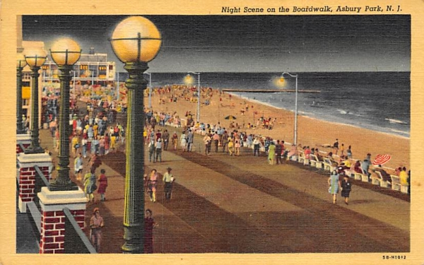 Night Scene on the Boardwalk Asbury Park, New Jersey Postcard
