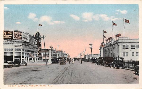 Ocean Avenue Asbury Park, New Jersey Postcard