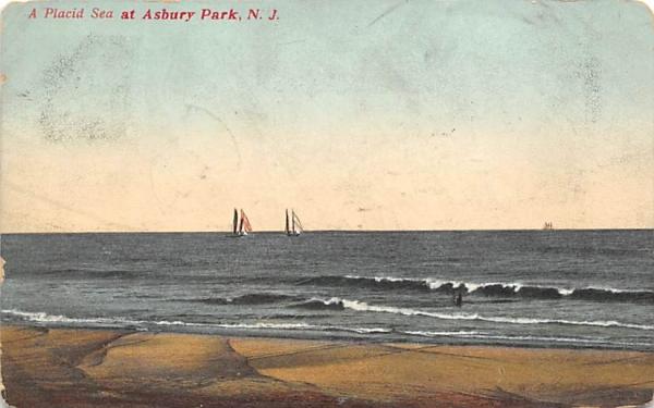 A Placid Sea  Asbury Park, New Jersey Postcard