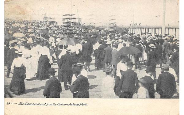 The Boardwalk east from Casino Asbury Park, New Jersey Postcard