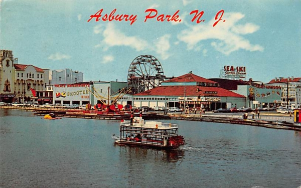 Colorful River Boat traveling on Wesley Lake Asbury Park, New Jersey Postcard