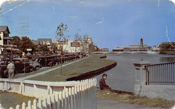 Looking toward the Boardwalk along Wesley Lake Asbury Park, New Jersey Postcard