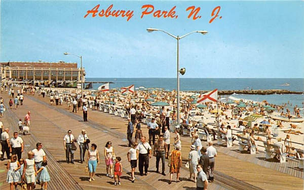 Boardwalk, Convention Hall in background Asbury Park, New Jersey Postcard