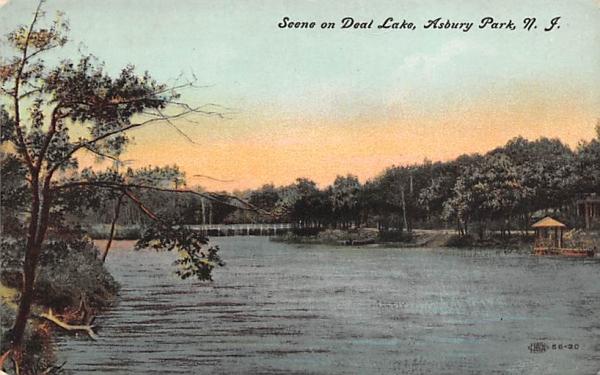 Scene on Deal Lake Asbury Park, New Jersey Postcard