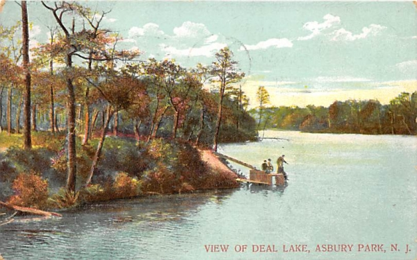 View of Deal Lake Asbury Park, New Jersey Postcard
