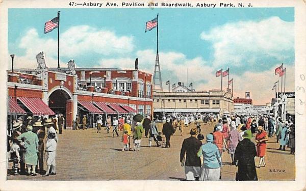 Asbury Ave. Pavilion and Boardwalk Asbury Park, New Jersey Postcard