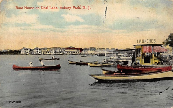 Boat House on Deal Lake Asbury Park, New Jersey Postcard