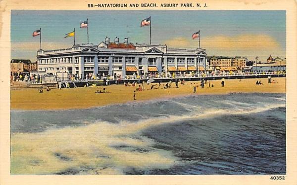 Natatorium and Beach Asbury Park, New Jersey Postcard