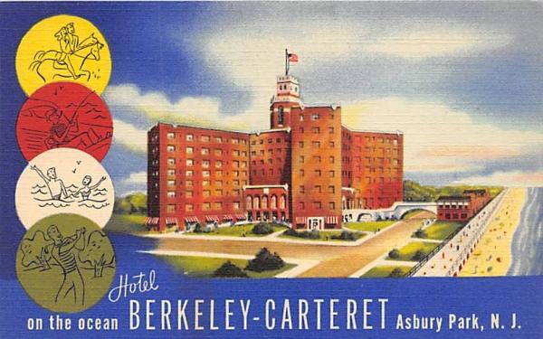 Hotel Berkeley-Carter on the ocean Asbury Park, New Jersey Postcard