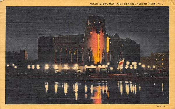 Night View, Mayfair Theatre Asbury Park, New Jersey Postcard