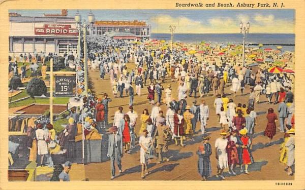 Boardwalk and Beach Asbury Park, New Jersey Postcard