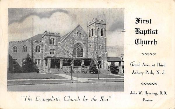 First Baptist Church Asbury Park, New Jersey Postcard