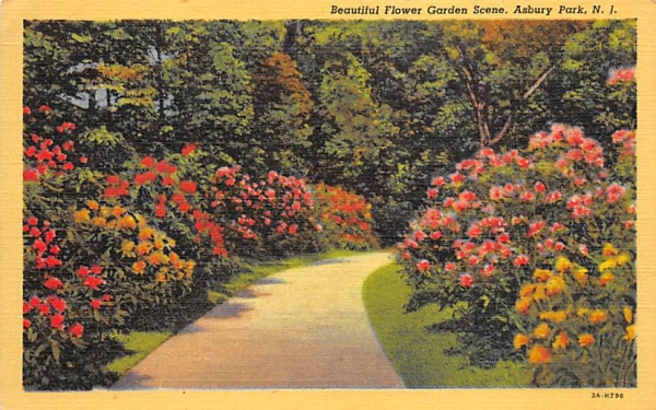 Beautiful Flower Garden Scene Asbury Park, New Jersey Postcard
