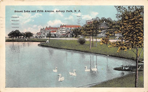 Sunset Lake and Fifth Avenue Asbury Park, New Jersey Postcard