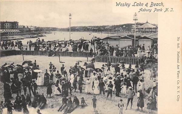 Wesley Lake & Beach Asbury Park, New Jersey Postcard