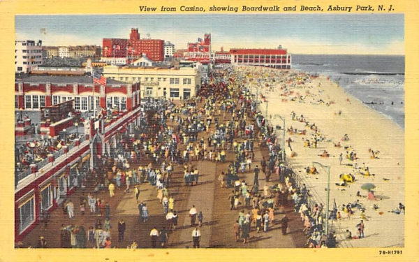 View from Casino, showing Boardwalk and Beach Asbury Park, New Jersey Postcard