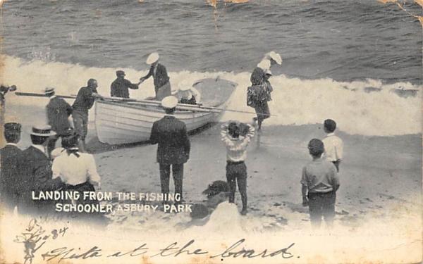 Landing from the Fishing Schooner Asbury Park, New Jersey Postcard