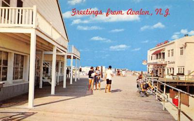 Broadwalk Scene Avalon, New Jersey Postcard