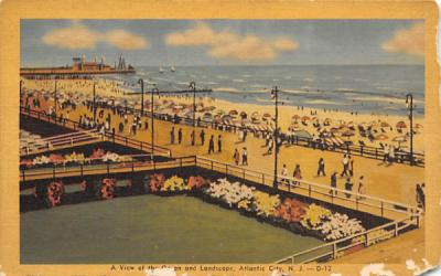 A View of the Ocean and Landscape Atlantic City, New Jersey Postcard