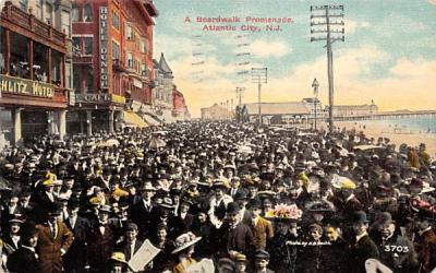 A Boardwalk Promenade Atlantic City, New Jersey Postcard