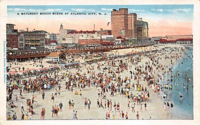 A Saturday Beach Scene at Atlantic City New Jersey Postcard