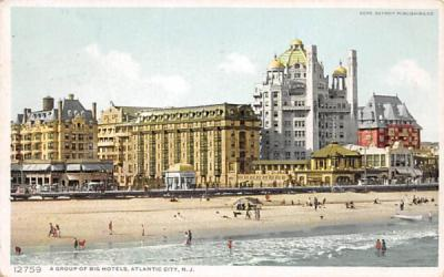 A Group of Big Hotels Atlantic City, New Jersey Postcard