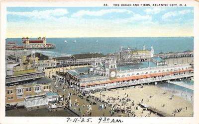 The Ocean and Piers Atlantic City, New Jersey Postcard