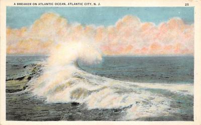 A Breakter on Atlantic Ocean Atlantic City, New Jersey Postcard