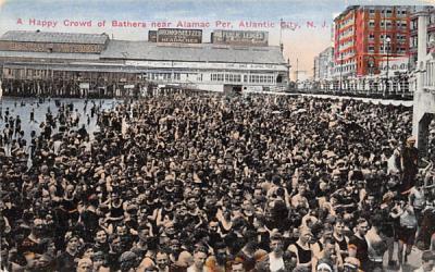 A Happy Crowd of Bathers near Alamac Per Atlantic City, New Jersey Postcard