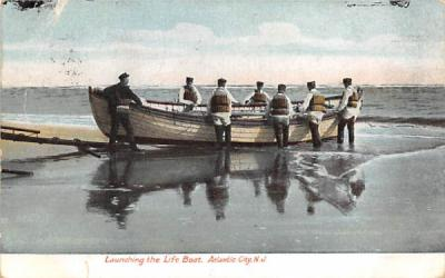 Launching the Life Boat Atlantic City, New Jersey Postcard