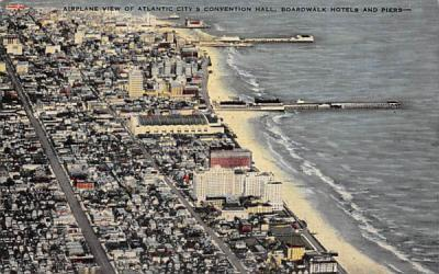 Convention Hall, Boardwalk Hotels and Piers Atlantic City, New Jersey Postcard