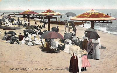 7th Ave. Bathing Grounds Asbury Park, New Jersey Postcard