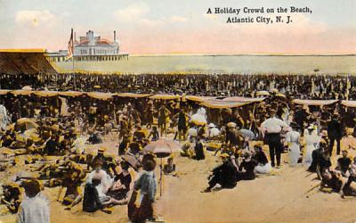A Holiday Crowd on the Beach Atlantic City, New Jersey Postcard