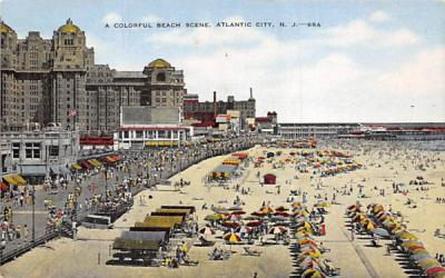 A Colorful Beach Scene Atlantic City, New Jersey Postcard