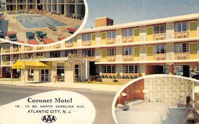 Coronet Motel Atlantic City, New Jersey Postcard