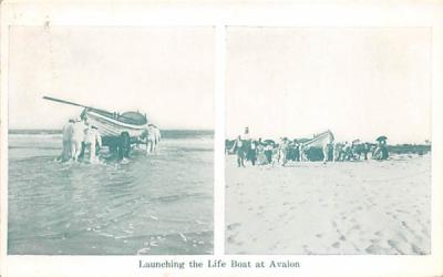 Launching the Life Boat at Avalon New Jersey Postcard
