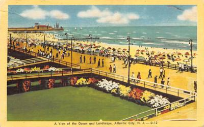A View on the Ocean and Landscape Atlantic City, New Jersey Postcard